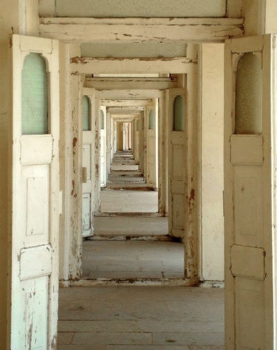 long, hallway, doors, neverending